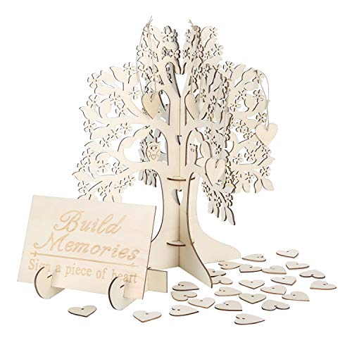 Wedding Guest Visit Sign Book 3D Wooden Sign Book Rustic Hearts Pendant Drop Ornament for Party - Tree Book Guest Wedding