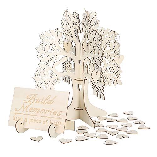 Wedding Guest Visit Sign Book 3D Wooden Sign Book Rustic Hearts Pendant Drop Ornament for Party Decor ()