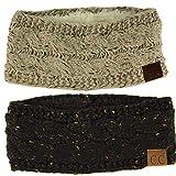 Winter CC Warm Fuzzy Fleece Lined Thick Knit Headband Headwrap Hat Cap Black/Oatmeal 2 Pack Combo