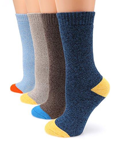 MIRMARU M108 Women's Winter 4 Pairs Wool Blend Crew Socks Collection(Navy,Brown,Beige,Sky Blue),Medium / Shoe Size:6-9. from MIRMARU