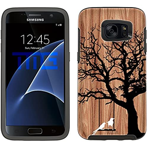 Skin Decal for OtterBox Symmetry Samsung Galaxy S7 Case - White Ink Birds on Wood Sales