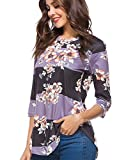 Apparel : CEASIKERY Women's Blouse 3/4 Sleeve Floral Print T-Shirt Comfy Casual Tops for Women