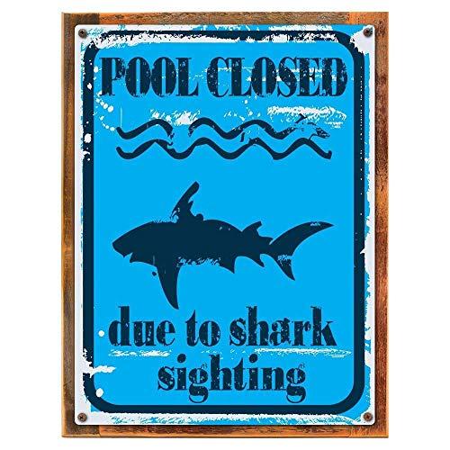 WCTO Metal tin Sign 7.8inch11.8inches Piscine fermé en Raison de Requin de Visée tal