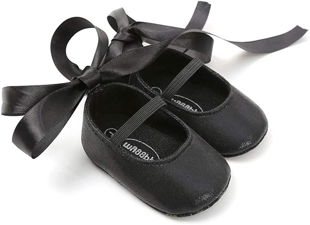 Black 11cm Fashion Infant Baby Shoes Kid Girl Faux Leather Soft Sole Prewalker Toddler Shoes Gift for Indoor Outdoor Light Sports