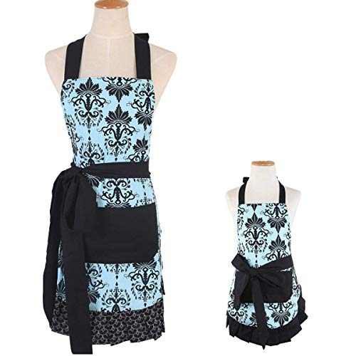 (Surblue Mom Children Painting Aprons Smocks for Women Retro Vintage Floral Apron for Cooking Gardening Aqua Damask)