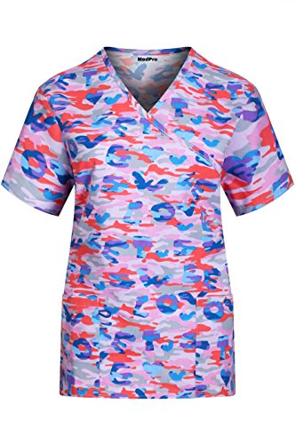 MedPro Women's Printed Short Sleeve Mock Wrap Medical Scrub Top Peach Blue S
