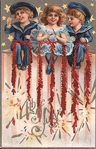 - Children Lighting Off Firecrackers 4th of July Original Vintage Postcard