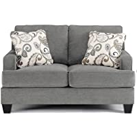 Ashley Yvette 7790035 61 Stationary Fabric Wood Frame Loveseat with 2 Pillows Set-Back Track Arms and Tapered Feet in