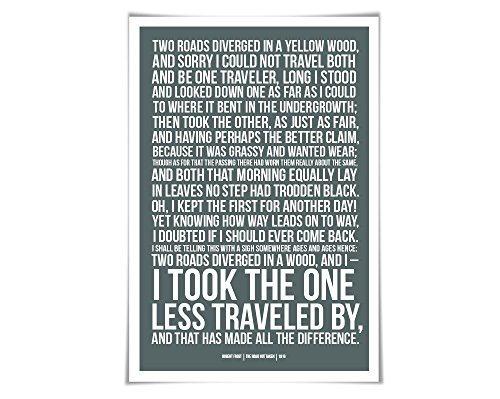 The Road Not Taken Robert Frost Art Print. 60 Colours/3 Sizes. Poetry Poster. Motivational Graduation
