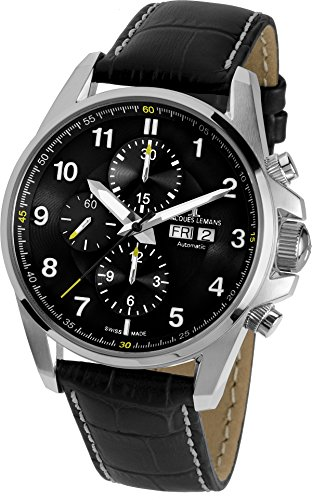 Jacques-Lemans-Mens-1-1750A-Liverpool-Automatic-Analog-Display-Swiss-Automatic-Black-Watch