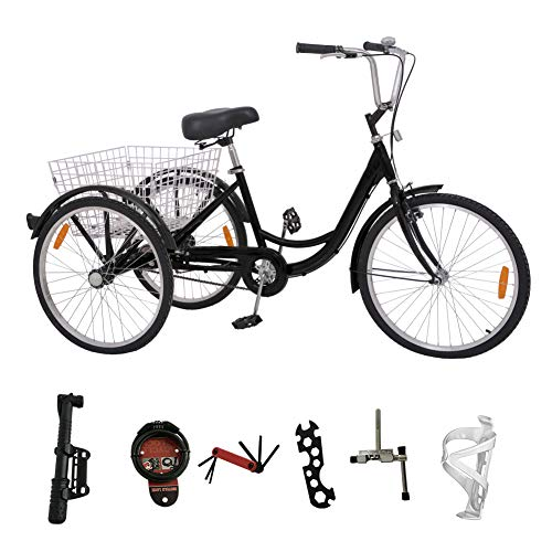 H&ZT Adult Tricycle Trike 3 Wheeled Cruiser Bike with Large Basket and Maintenance Tools, 24 Inch Wheel Size Bike Trike, Men's Women's Cruiser Bike (Black, Single Speed)