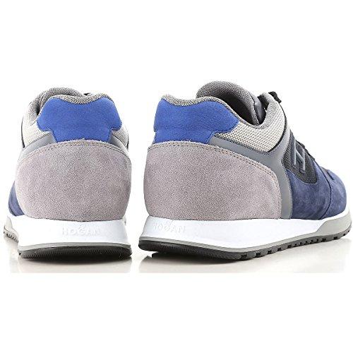 Uomo Tessuto Mod H321 Camoscio E Blu Hxm3210y861i7j785k Sneakers Hogan In Grigio