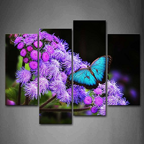 Blue Butterfly Stop On Purple Flower Wall Art Painting Th...