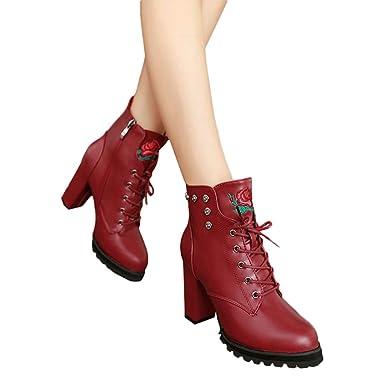 ❤️ Botas de Invierno de Mujer talón, Plataforma de Dedo del pie Mujeres Retro Toe Cremallera Color sólido tacón Grueso Boots otoño Invierno Absolute