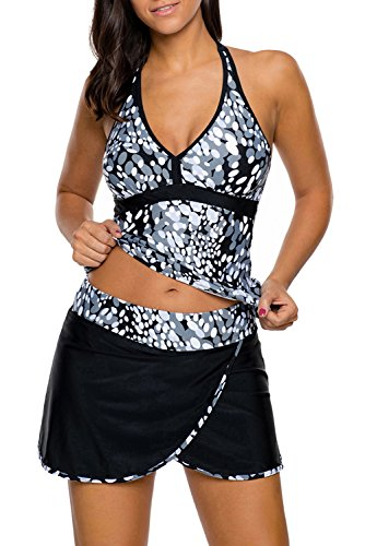 Zabrina Stores Women's Plus Size Print Two Piece Adjustable Deep V-Neck Tankini Wrapped Skirt Swimsuit (S-3X) Gray