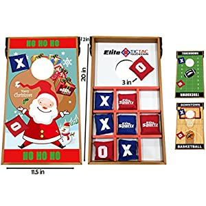 Elite Sportz Junior Bean Bag Toss Game - 2 Games on 1 Board - Tic Tac Toe and Cornhole Party Games for Kids (Christmas)