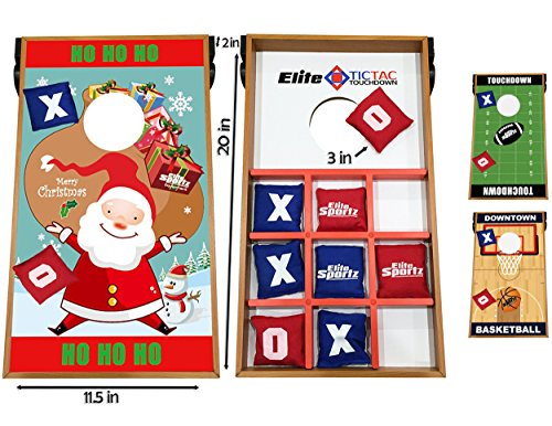 Elite Sportz Junior Bean Bag Toss Game - 2 Games on 1 Board - Tic Tac Toe and Cornhole Party Games for Kids (Christmas) (Games For Groups Christmas Themed)