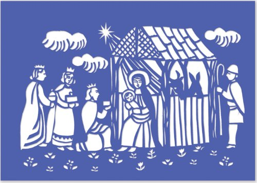 Woodcut Manger Laser Cut Holiday Cards (Christmas Cards, Holiday Cards, Greeting Cards) (Christmas Woodcut)