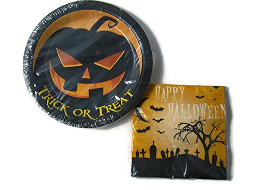 Happy Halloween - Trick or Treat Paper Plates and Napkin Set