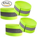 Attmu High Visibility Reflective Wristbands / Belt / Armbands (4 pack / 2 Pairs), Reflective Ankle Strap Ankle Bands Running Gear - Perfect for Runners, Walkers, Cyclists and as Bike Pant Leg Straps