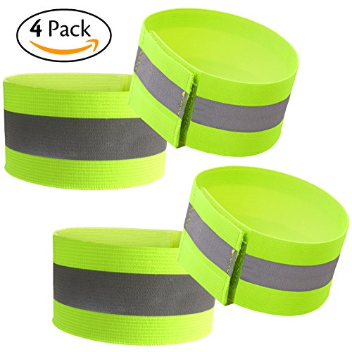 Attmu High Visibility Reflective Wristbands/Belt/Armbands (4 pack/2 Pairs), Reflective Ankle Strap Ankle Bands Running Gear - Perfect for Runners, Walkers, Cyclists and as Bike Pant Leg Straps