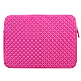 Evecase Diamond Foam Splash and Shock Resistant Universal Sleeve Zipper Case Bag 15 - 15.6 Inch (Hot Pink)