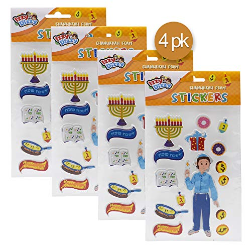 Izzy 'n' Dizzy Chanukah Foam Stickers - 4 Pack - Dreidels, Menorahs and More - Hanukah Stationary, Arts and Crafts - Gifts and Games ()