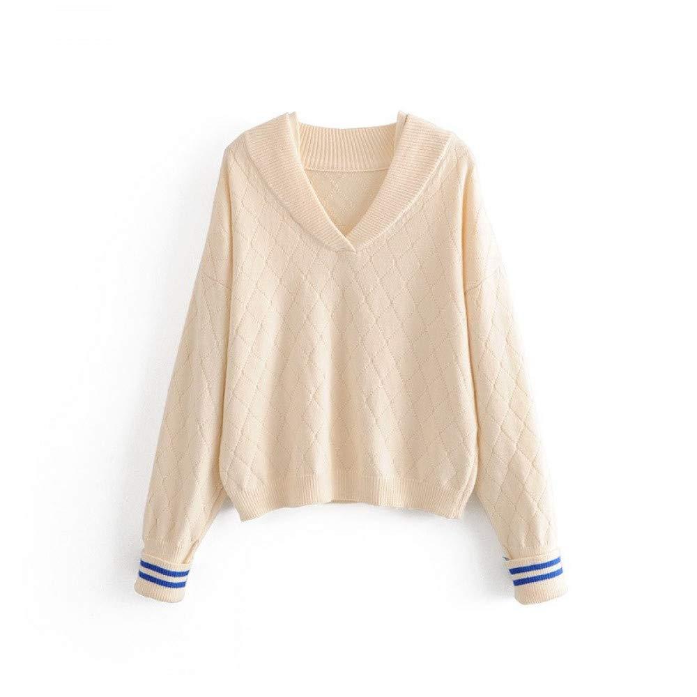 FUHENGMY Pullover Harajuku V-Ausschnitt Pullover Mit Gestreiften Herbst Kawaii Frauen Strick Plaid Pullover Casual Langarm Strickwaren