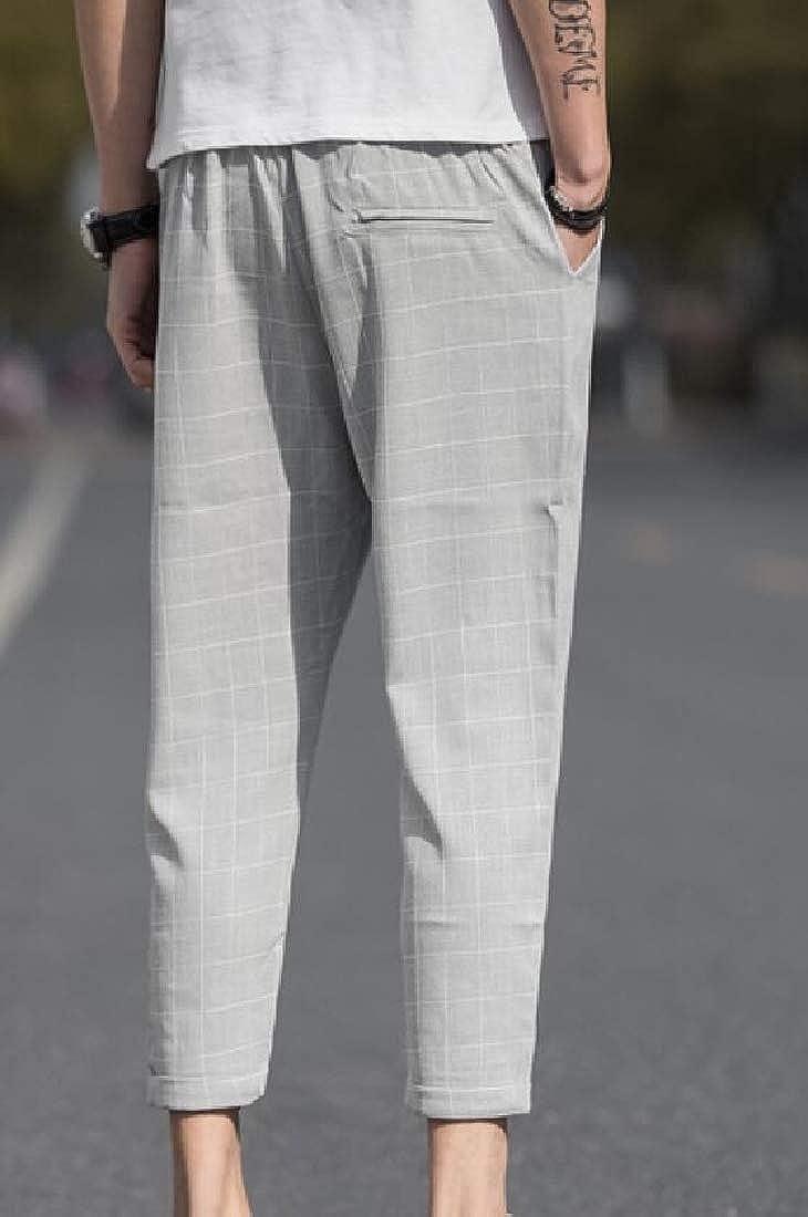 Men Vintage Summer Casual Solid Drawstring Cotton Linen Pants Trousers