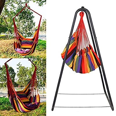 QIANSKY Hanging Rope Hammock Chair Swing Seat, Handwoven Cotton Macrame Hammock Hanging Swing with Use w/Backrest, for Yard, Garden, Patio, Porch, Indoor & Outdoor (Type 5/Hanging Chair+2XStraps) : Garden & Outdoor