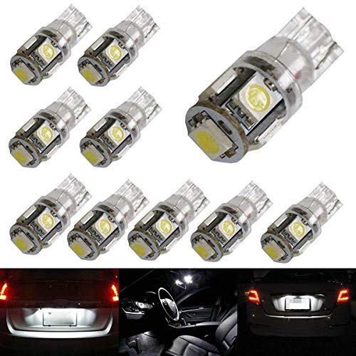 2018 Lincoln Continental Replacement - iJDMTOY (10) 5-SMD-5050 168 194 2825 W5W LED Replacement Bulbs For Car Interior Map/Dome Lights, License Plate Lights, Parking Lights, Xenon White