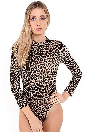 1ef8773fb68 Ladies Long Sleeve Polo Turtle Neck Plain Printed Stretch Leotard Bodysuit  Top (UK Size S