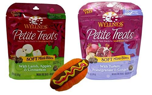 Cinnamon Flavor Small Dog Treats - Wellness Petite Treats Small Breed Dog Treats 2 Flavor Variety Plus Toy Bundle, (1) Each: Lamb Apples Cinnamon, and Turkey Pomegranate Ginger (6 Ounces)
