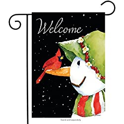 "Briarwood Lane Cardinal Snowman Winter Garden Flag Welcome Primitive 12.5"" x 18"""