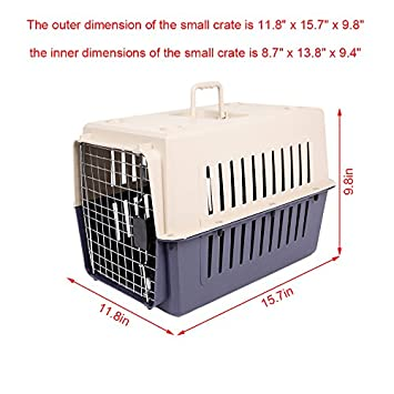 KARMAS PRODUCT 4 Size Plastic Cat Dog Carrier Cage with Chrome Door Portable Pet Box Airline Approved