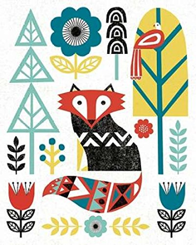 Posterazzi Folk Lodge Fox V2 Teal Poster Print by Michael Mullan (8 x - Print Fox V2