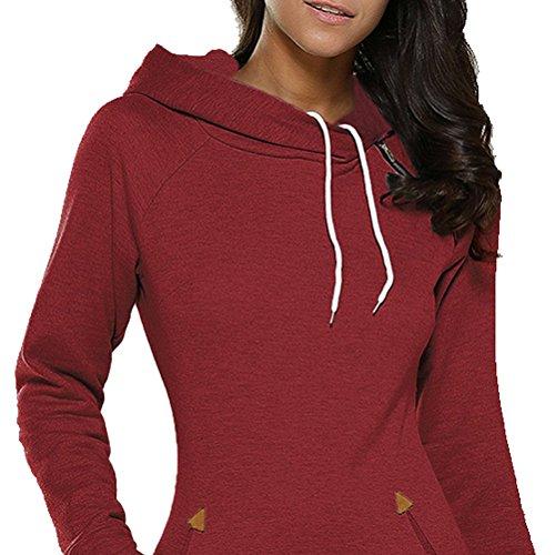 Sleeve Slim Dark Hoodie Dress Dress Red Neck Fit Long Sweatshirt Women 123 SYGoodBUY Round wvqc7UHXxn