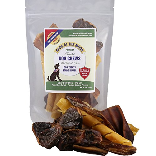 Green Dog Naturals Healthy (Premium Assorted Dog Chews - All Natural, Chewy Dog Treats Made in USA - Pig Ear, Bully Stick, Pork Hide Twist Pieces & Turkey Gizzards Assortment Pack - One Ingredient - American Sourced - Dogs Love)