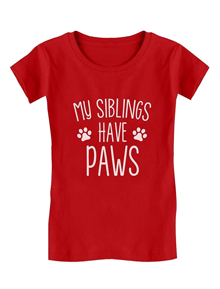 TeeStars - My Siblings Have Paws Funny Cute Toddler/Kids Girls' Fitted T-Shirt GMPllMagw5