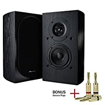 Pioneer SP-BS22-LR Andrew Jones Designed Bookshelf Loudspeakers with 2 Pairs of Banana Plugs