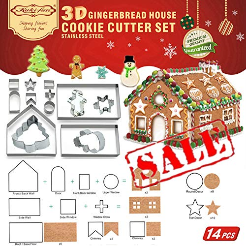 14 PCS- 3D Gingerbread House Cookie Cutter Set (Stainless Steel)| Chocolate House Cutouts Cutters Kit | Haunted House FDA Approved, Gift Box Packaging| Christmas Tree/Snowflake/Snowman/Gingerbread - Mini House Haunted