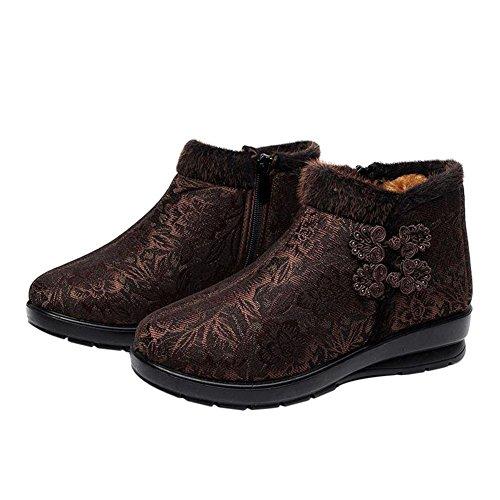 Hzjundasi Zapatos Deportiva de Mujer Botas Casuales Footwear Al Aire Libre Forrado Cálido Brown 2