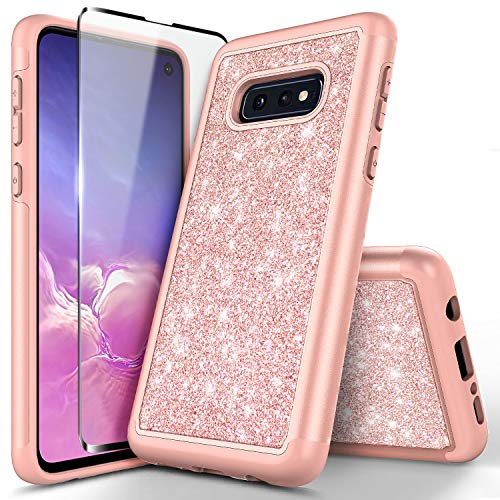 Galaxy S10e Glitter Sparkle Case w/[Full Coverage Premium Soft Screen Protector], NageBee Shiny Bling Shockproof Soft Silicone Hybrid Cover Girls Cute Case Designed for Samsung Galaxy S10e -Rose Gold