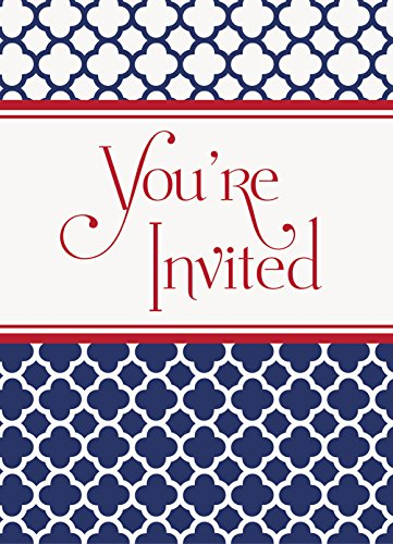 Hamptons Navy Quatrefoil Invitations, 8ct