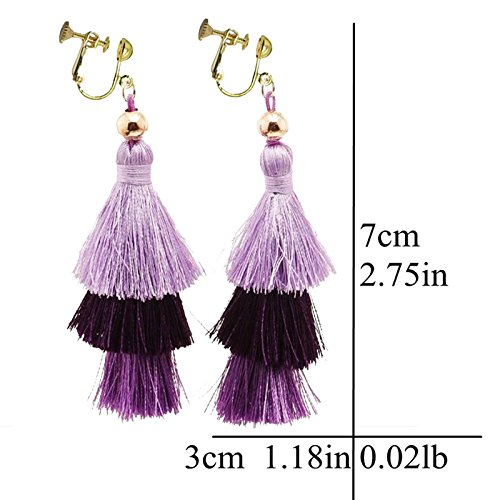 Sweet Bohemian Handmade Clip on Earrings 3 Layered Fringe Thread Tassel for Girls Women Purple