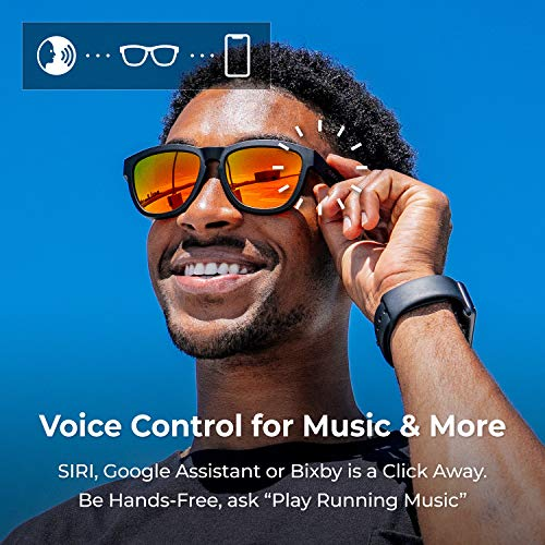 ZUNGLE V2 Viper: Bluetooth Audio Sunglasses with Over Ear True Wireless Bone Conduction Headphones. for Men, Bluetooth 5.0, Built-in Mic, Music, Phone Call, AI Assistance(Matte Black Frames)
