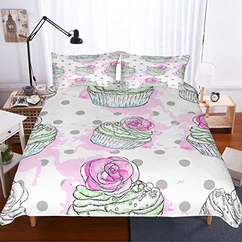 PATATINO MIO Delicious Cupcakes Printed Bedspread 2 Piece Duvet Cover Bedding Set Collection Twin for Kids,Toddlers and Girls,1 Duvet Cover 1 Pillow Sham,No Comforter