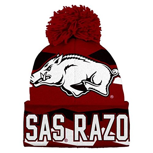 NCAA Youth Boys 8-20 Arkansas Razorbacks Cuffed Knit w/Pom Hat, 1S - Arkansas Razorbacks Pom Pom
