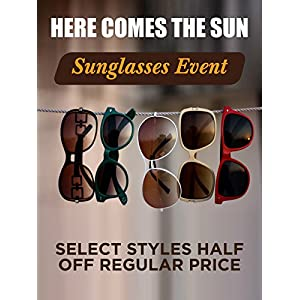 "Here Comes The Sun Eyewear Business Retail Display Sign, 18""w x 24""h, Full Color"