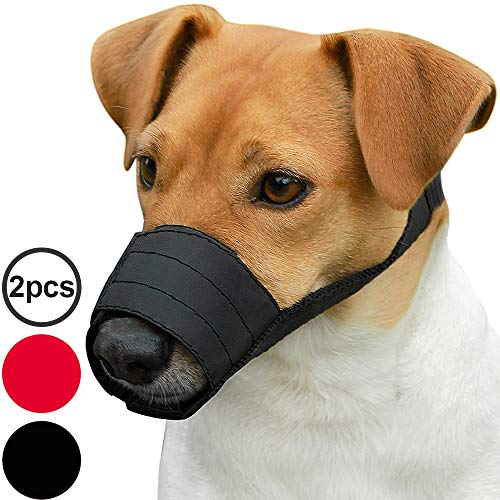 CollarDirect Adjustable Dog Muzzle for Small Medium Large Dogs Set of 2PCS Soft Breathable Nylon Safety Dog Mouth Cover Anti Biting Barking, Pet Muzzles for Dogs Black Red (XS/S, 1Black & 1Red)